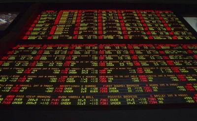 Super Bowl XLVIII proposition bets are posted on an electronic board at the Las Vegas Hotel & Casino Superbook in Las Vegas