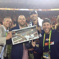 Chesin and Mougey on sidelines after DEN wins Super Bowl Chaparral