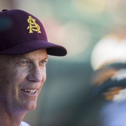 ASU Baseball head coach tracy Smith is pictured at an inner squad scrimmage February 7, 2015 at Phoenix Municipal Stadium in Phoenix, Arizona.