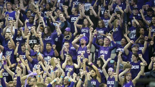 Grand Canyon University student fans cheer before the college basketball game against Louisville  at Grand Canyon University in Phoenix on Saturday, December 3, 2016.