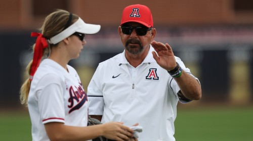March 5, 2017 Head coach Mike Candreaduring Arizona's 4-2 win over Texas, Rita Hillenbrand Memorial Stadium, Tucson, AZ