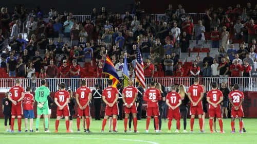 Phoenix Rising players stand for the National Anthem prior to kick off the match against LA GalaxyII at the Phoenix Rising Soccer Complex on Saturday, April 8, 2017, in Scottsdale, Ariz.(Sports360Az Photo/Edwin Rodriguez)