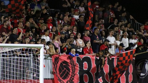 Phoenix Rising fans cheer on their team against LA Galaxy II at the Phoenix Rising Soccer Complex on Saturday, April 8, 2017, in Scottsdale, Ariz.(Sports360Az Photo/Edwin Rodriguez)