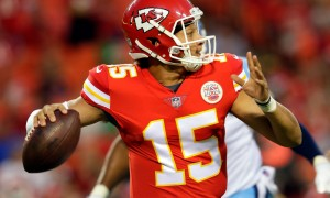 KANSAS CITY, MO - AUGUST 31:  Quarterback Patrick Mahomes #15 of the Kansas City Chiefs looks to pass during the game against the Tennessee Titans at Arrowhead Stadium on August 31, 2017 in Kansas City, Missouri.  (Photo by Jamie Squire/Getty Images)