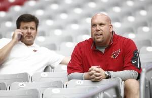 Arizona Cardinals GM Steve Keim and team president Michael Bidwill at training camp on Tuesday, August 18, 2015 at the University of Phoenix Stadium in Glendale, AZ.